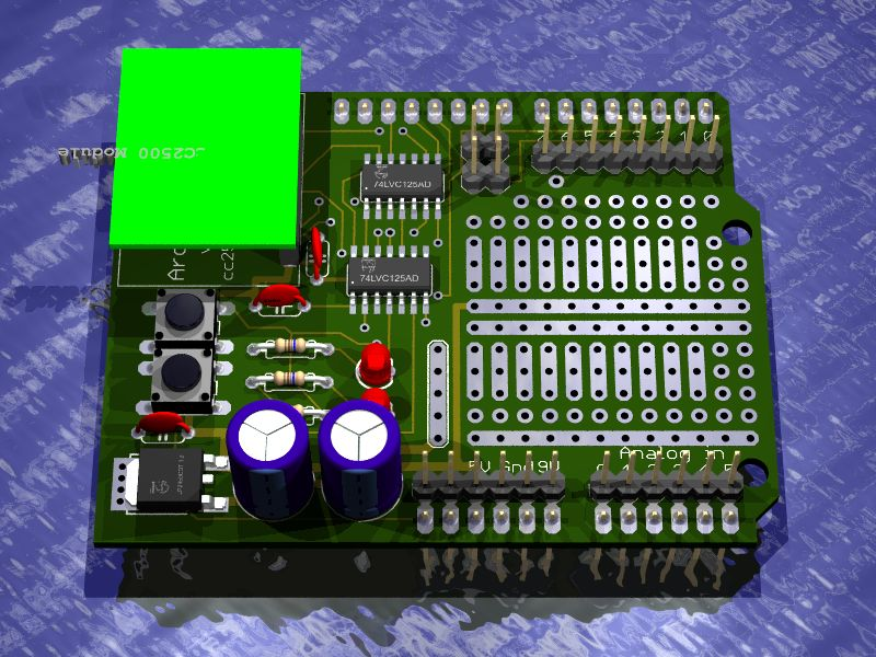 Arduino CC2500 Shield rendered in Eagle3D