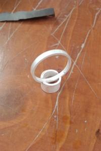 Zilveren ring, ongepolijst. De kieren moeten nog worden dichtgemaakt.